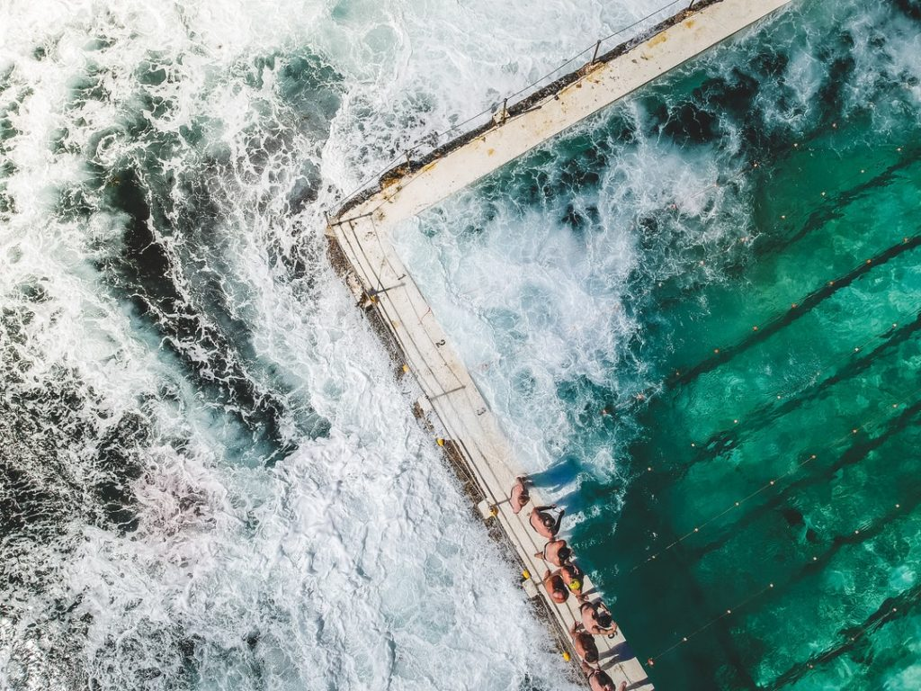 aerial shot of beach pool