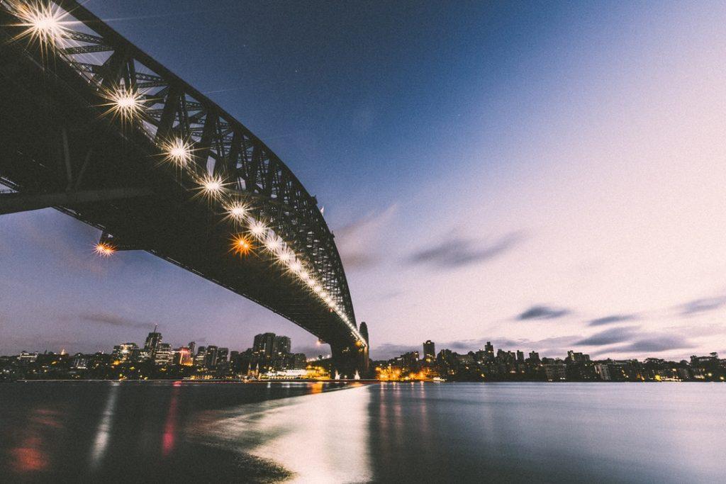 sydney harbour bridge at dusk