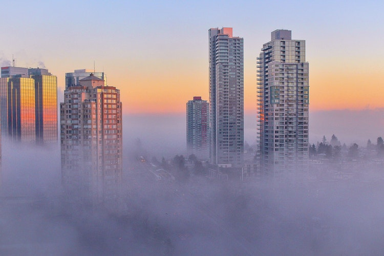 buildings in clouds