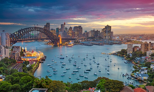 Sydney Harbour and Sydney Harbour Bridge with the Sydney skyline in the background.