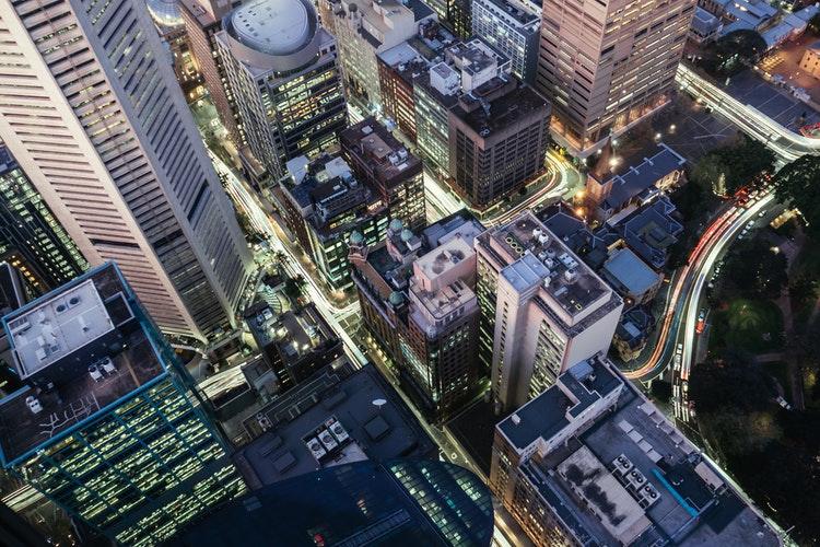 city nightime aerial view