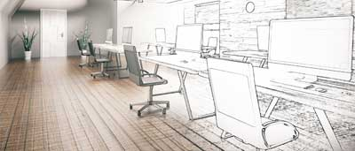 Architectural generation of a newly designed office space, with workspaces lining the wall.
